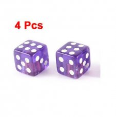 4 Pcs Purple Cube Shape Dice Style Tire Valve Caps for Vehicle Car