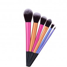 Long Straight Foundation Brush Cosmetic Brushes 6pcs Set Blending Powder