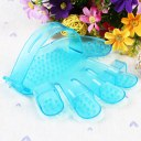 Cute Palm Pattern Pet Dog Bath Massage Brush Comb Rubber Blue/Pink