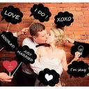 Wedding Photo Booth Props happy words on a Stick For Wedding Party Photography