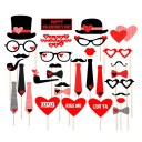 33pcs Photo Booth Props Moustache Love Mask on A Stick For Wedding Party Supply