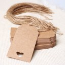 50x Brown Kraft Paper Hang Tags Wedding Party Favor Punch Label Price Gift Cards