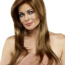 65CM Light Brown Long Straight Hair Wig Synthetic High Temperature Wire Wig