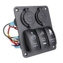 Gang Aluminium Switch Panel Circuitblue Led Rocker Breaker Car Rv Boat Marine