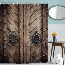 Rivets Wooden Door Pattern Shower Curtain Digital Printing Polyester Antique