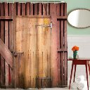 Kashang Classical Red Brown Barn Wooden Door Pattern Background Shower Curtain