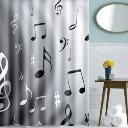 "Home Bath Decor Music Notes Waterproof Polyester Fabric Shower Curtain 59"" x 71"""
