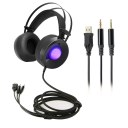 PC Stereo Gaming Headset Over-Ear Headphones Volume Control Breathing LED Lights