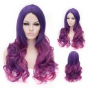 Cosplay Wig Carved Long Curly Purple To Rose Red