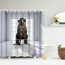 Creative Elephant Pattern Polyester Bathroom Shower Curtain W/12 Plastic Hooks