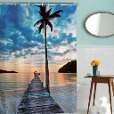 Coconut Trees Dock Bridge Waterproof Shower Curtain 12 hooks Polyester