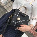 Charming Women PU Leather Wooden Bead Tassels Big Ring Handle Crossbody Bag