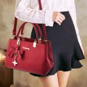 Women Leather Handbag Crossbody Shoulder Bag Messenger Satchel With Pendant