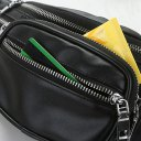 Soft PU Leather Men Casual Solid Color Waist Bag Metal Chain Chest Bag Black