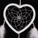 White Heart Shaped Net Loop Feather Car Wall Hanging Ornament Wedding Decor